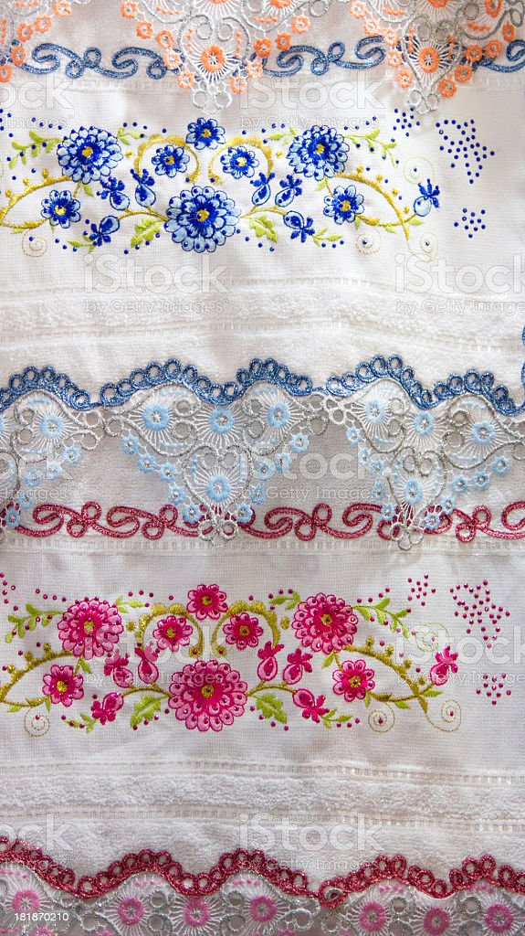 Embroidered traditional Turkish fabrics. royalty-free stock photo