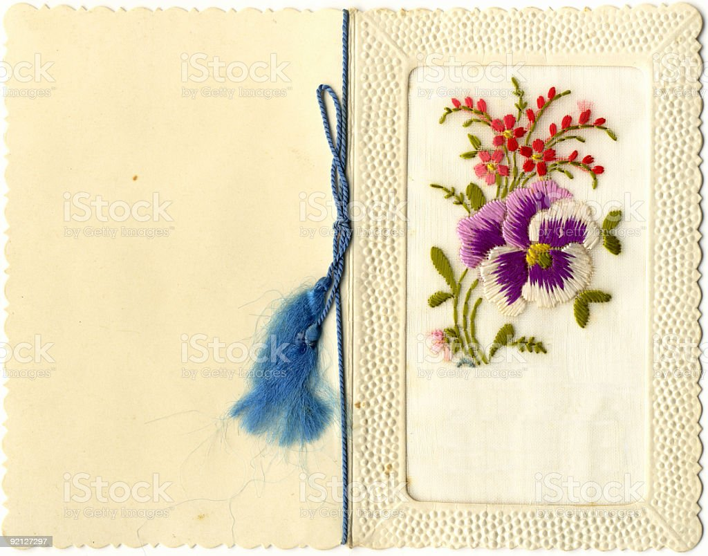 Embroidered Vintage Greeting Card royalty-free stock photo