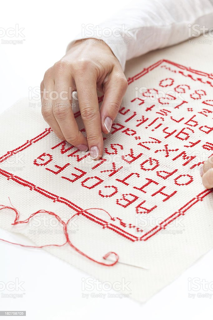 Embroideried alphabet royalty-free stock photo