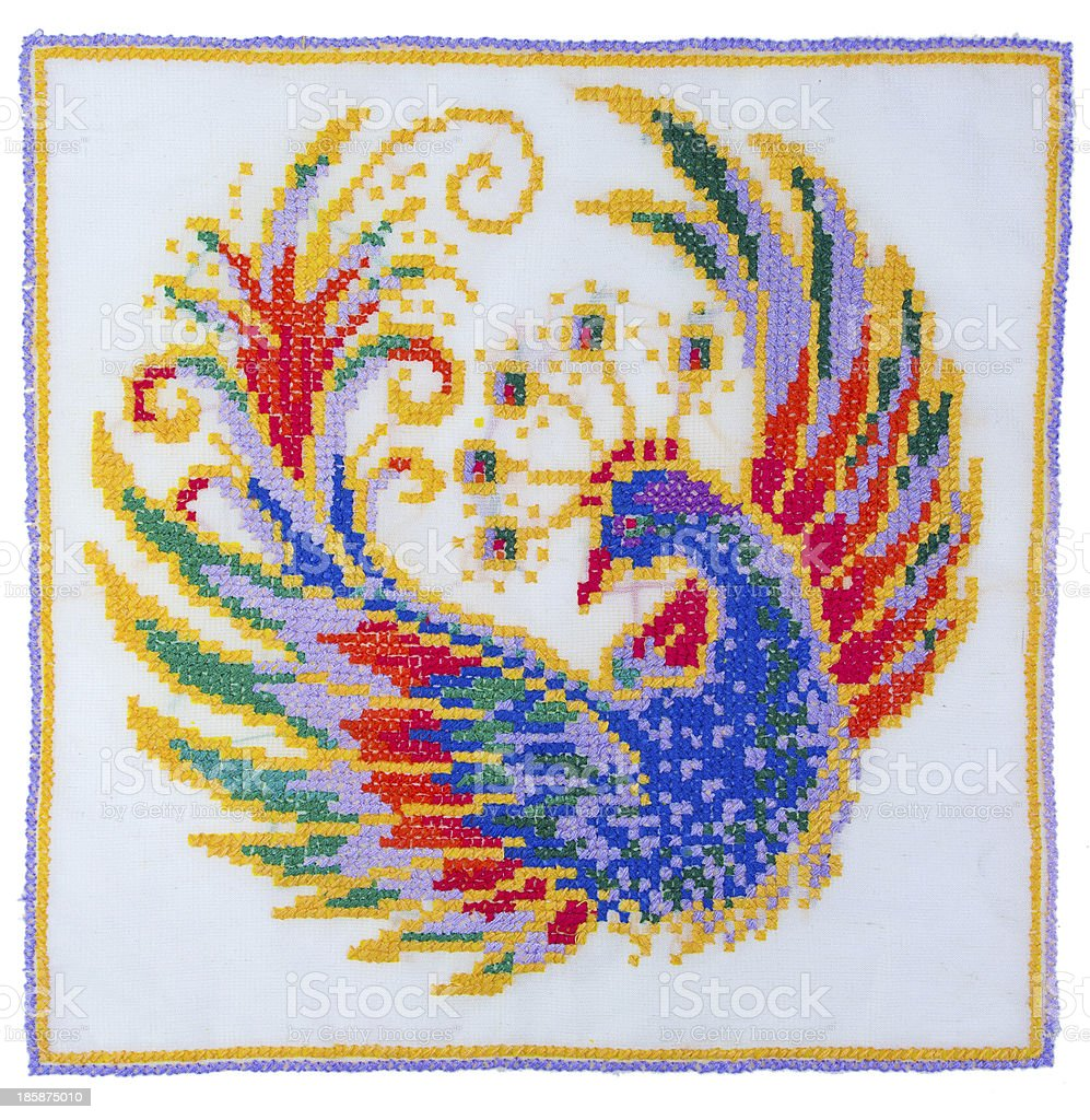 Embroidery depicting the fabulous bird royalty-free stock photo