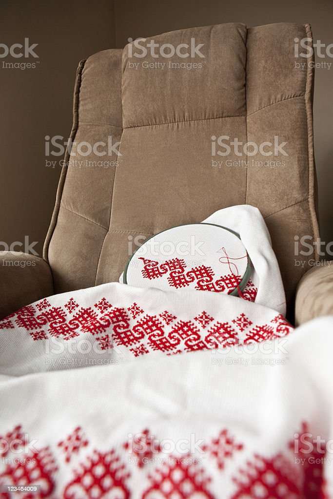 Embroidery in progress royalty-free stock photo