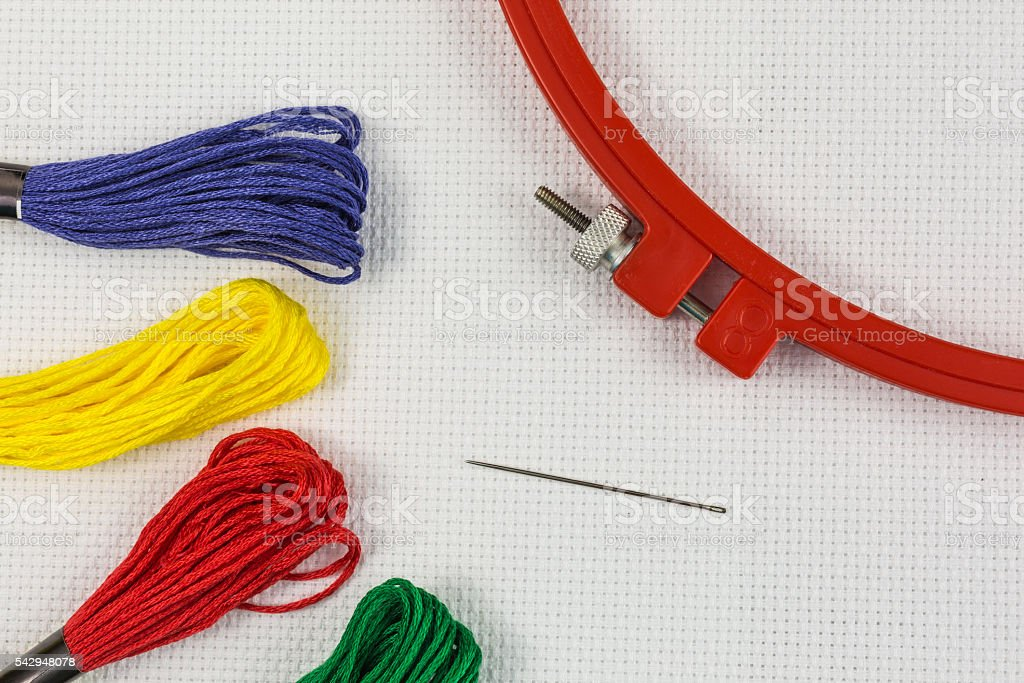 embroidery kit stock photo