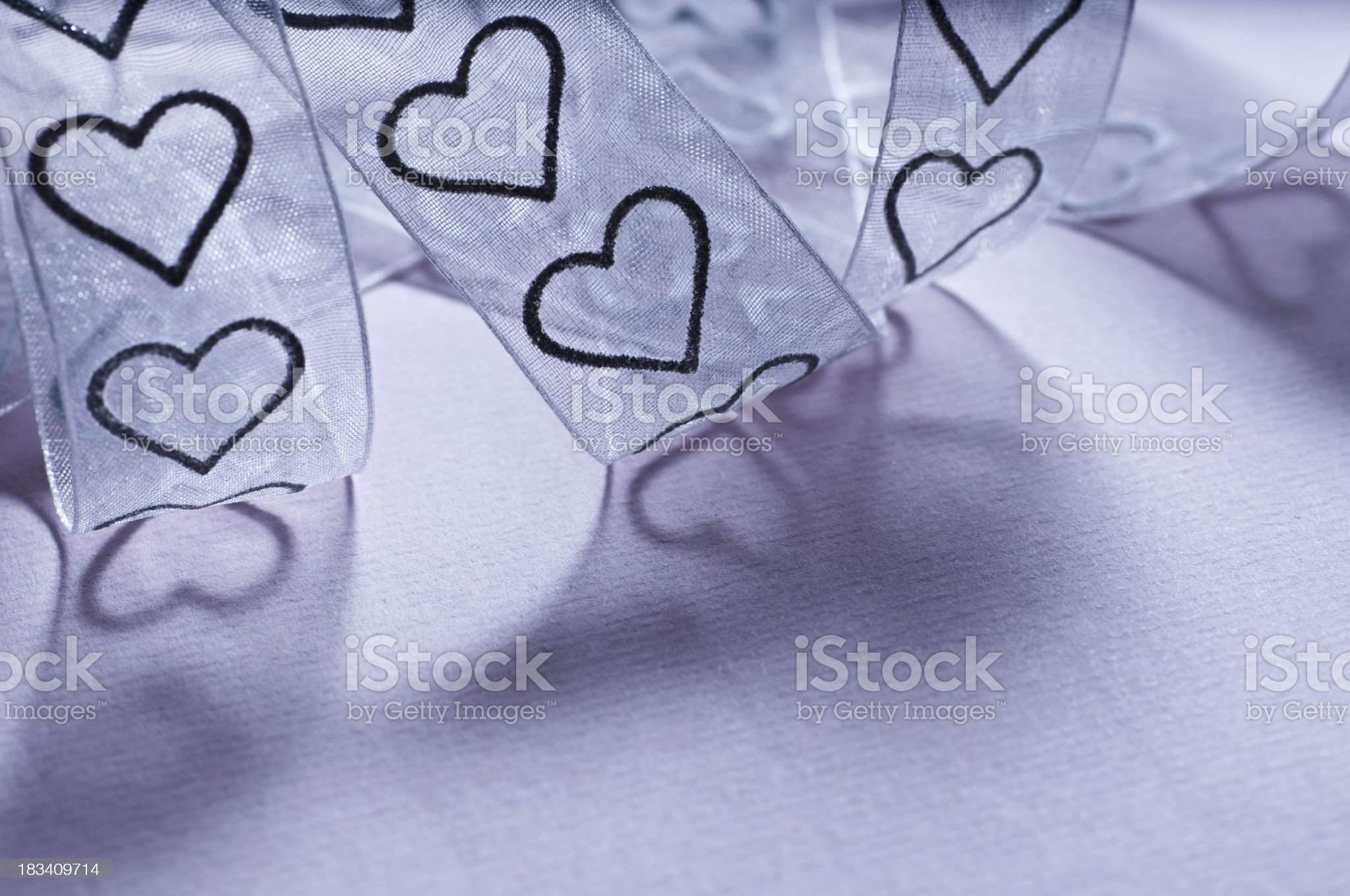 embroidery of hearts on tulle textile royalty-free stock photo