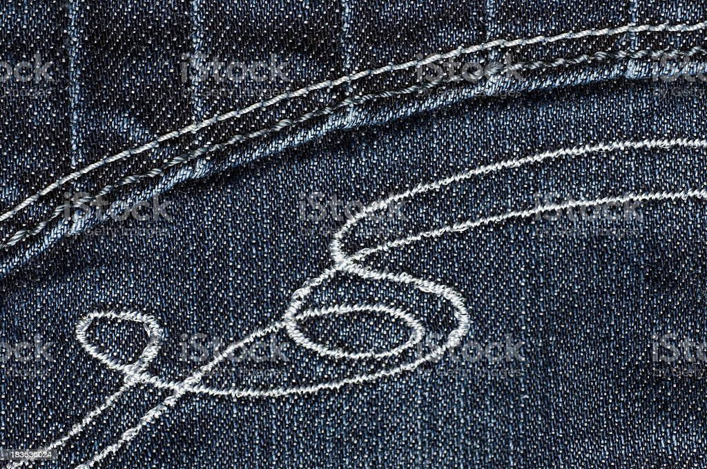 Embroidery On Jeans royalty-free stock photo