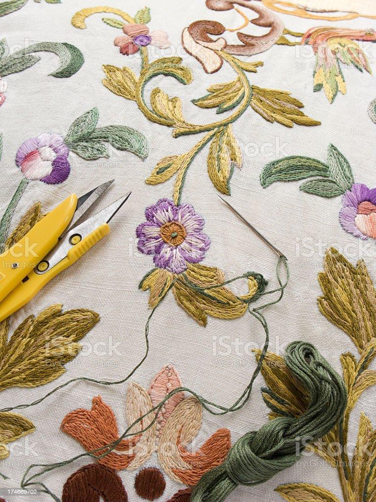 Embroidery scissor needle thread royalty-free stock photo