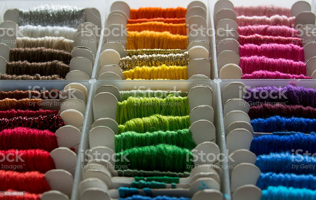 Embroidery Thread in a Plastic Box stock photo