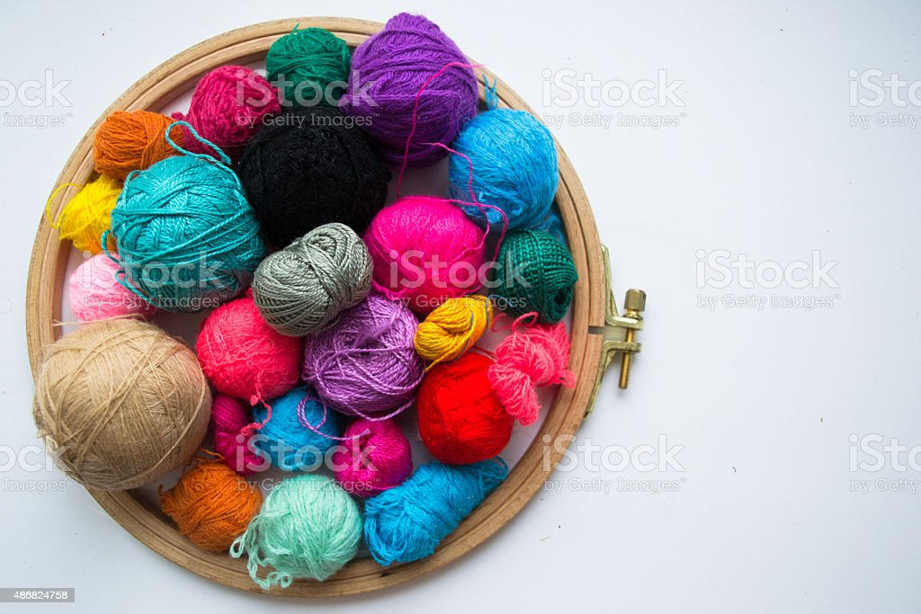 Embroidery threads and frame with space for text stock photo