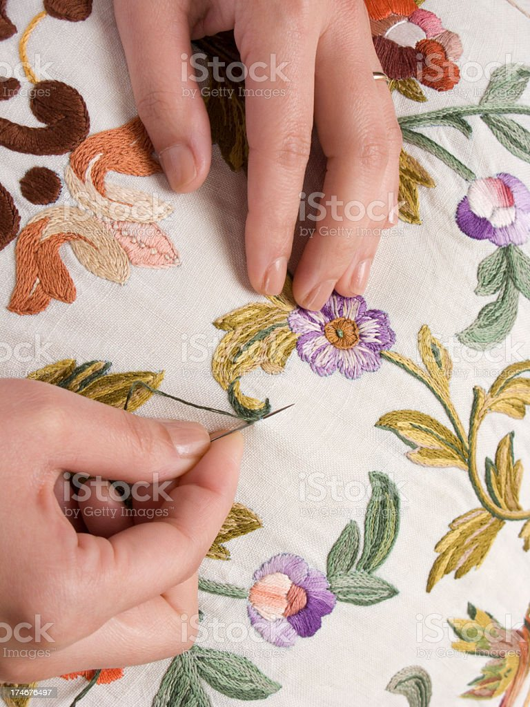 Embroidery with hands royalty-free stock photo