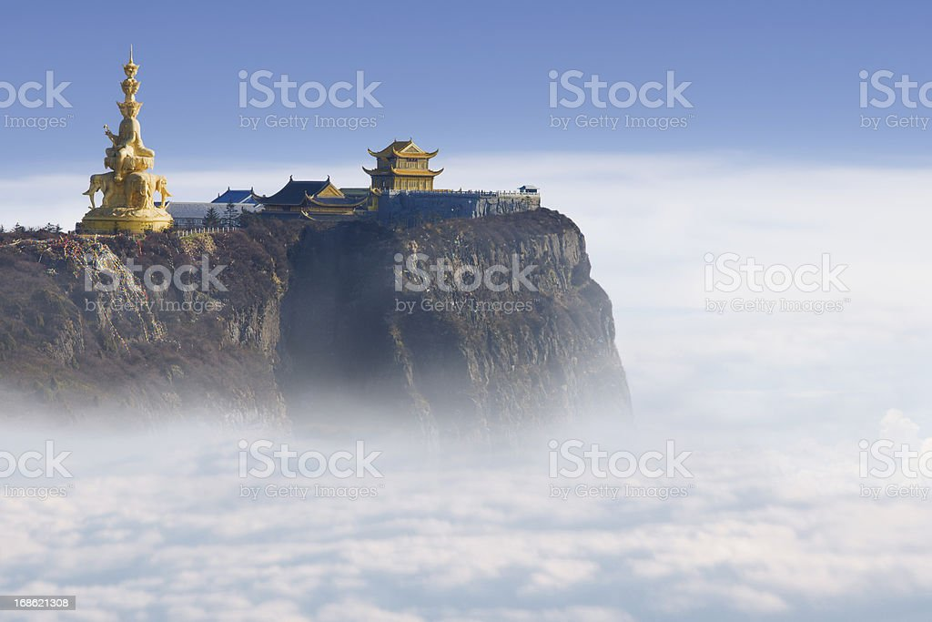 Emeishan Jinding temple at 3000m above sea level royalty-free stock photo