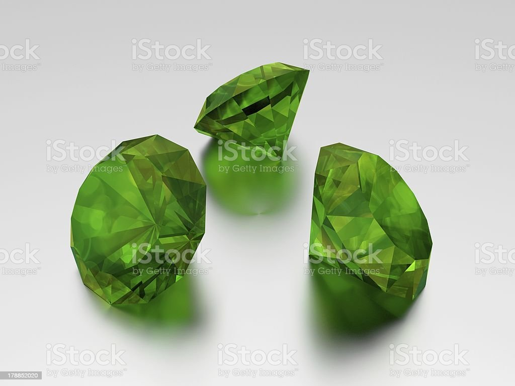 3D Emerald - 3 Green Gems royalty-free stock photo