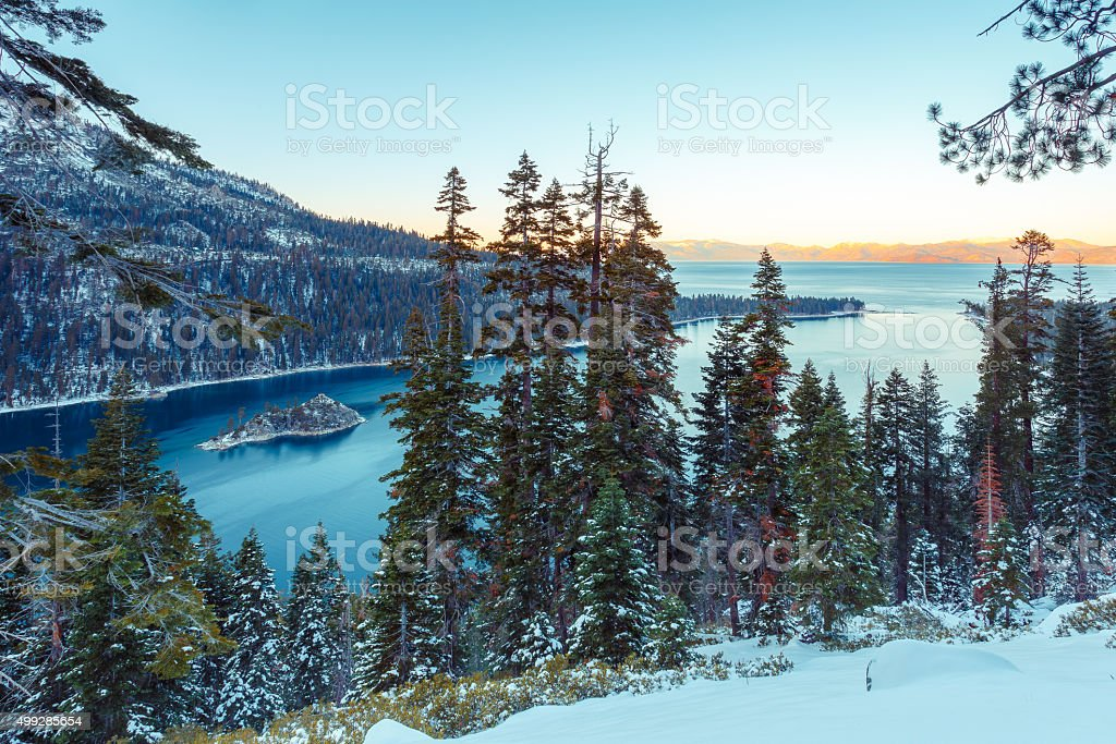 Emerald Bay in Winter stock photo