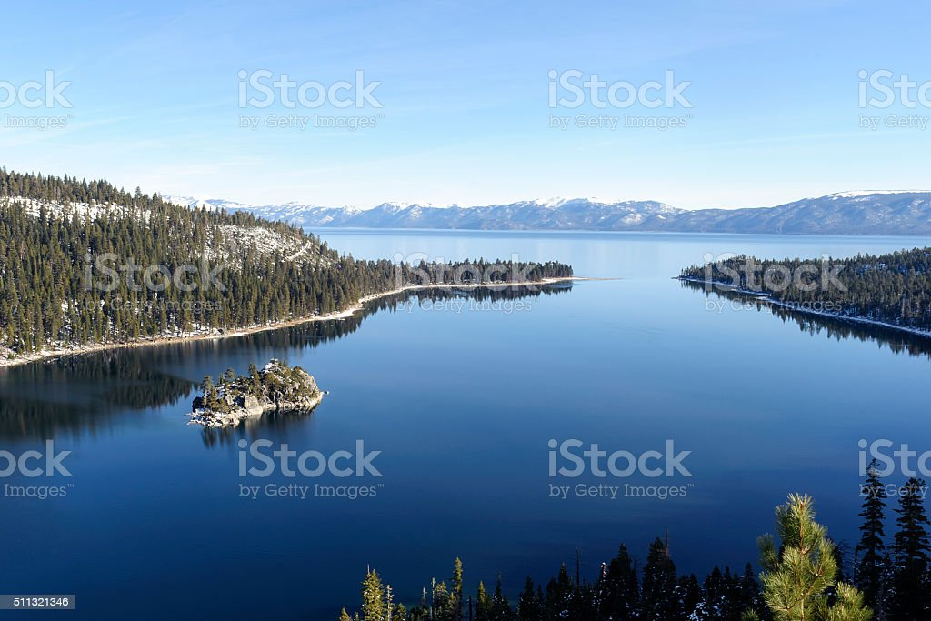 emerald bay, lake tahoe early in the morning stock photo