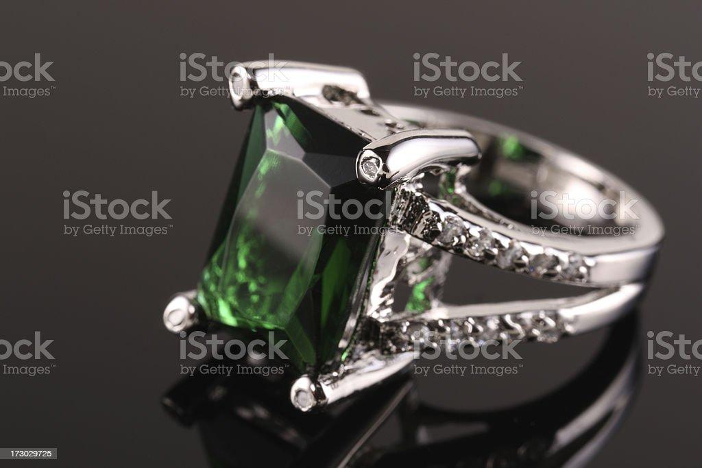 Emerald Diamond Ring stock photo