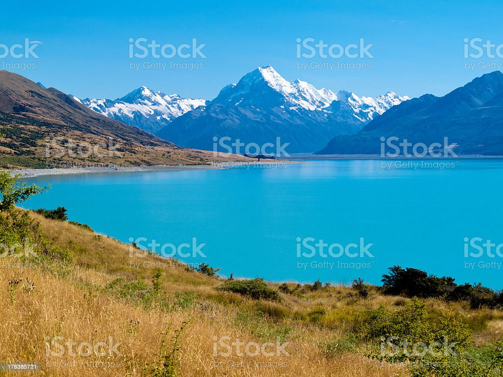 Emerald glacier Lake Pukaki, Aoraki Mt Cook NP, NZ stock photo