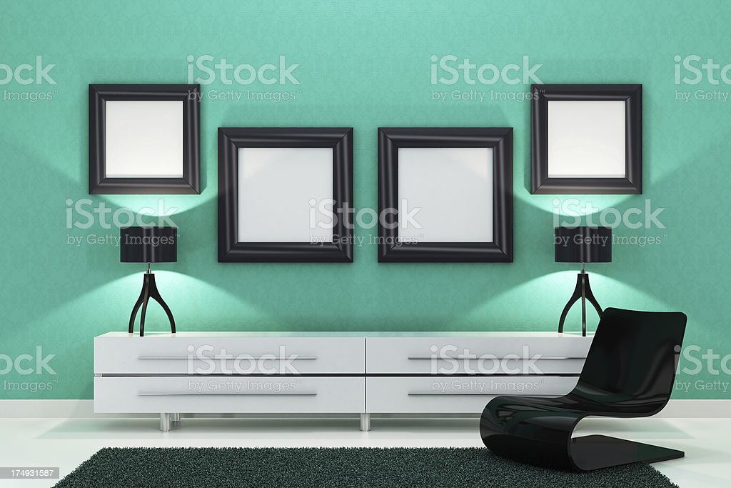 Emerald Green Lounge Room royalty-free stock photo