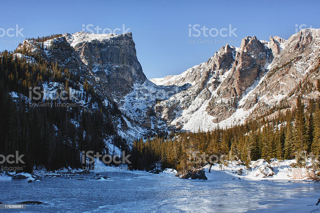Emerald lake in rocky mountains national park, CO stock photo