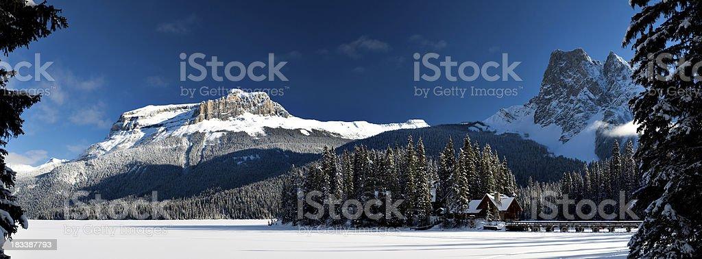 Emerald Lake Lodge Panorama stock photo