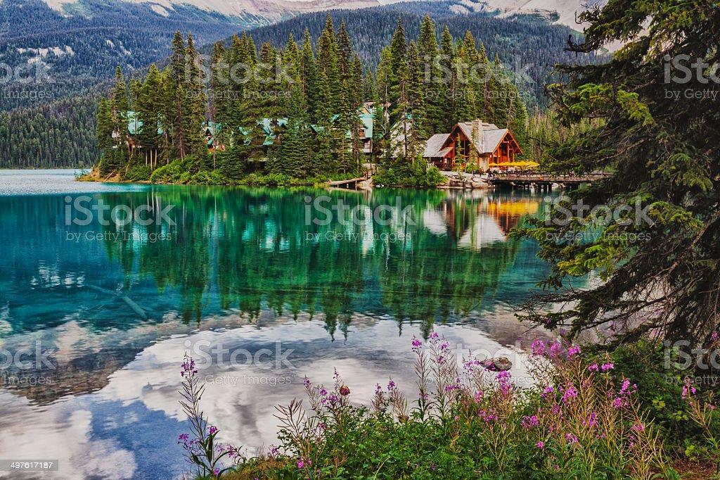 Emerald Lake Lodge Reflection stock photo