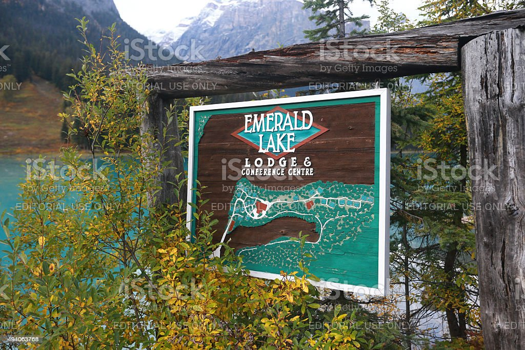 Emerald Lake Lodge Sign in Yoho National Park, Canada stock photo