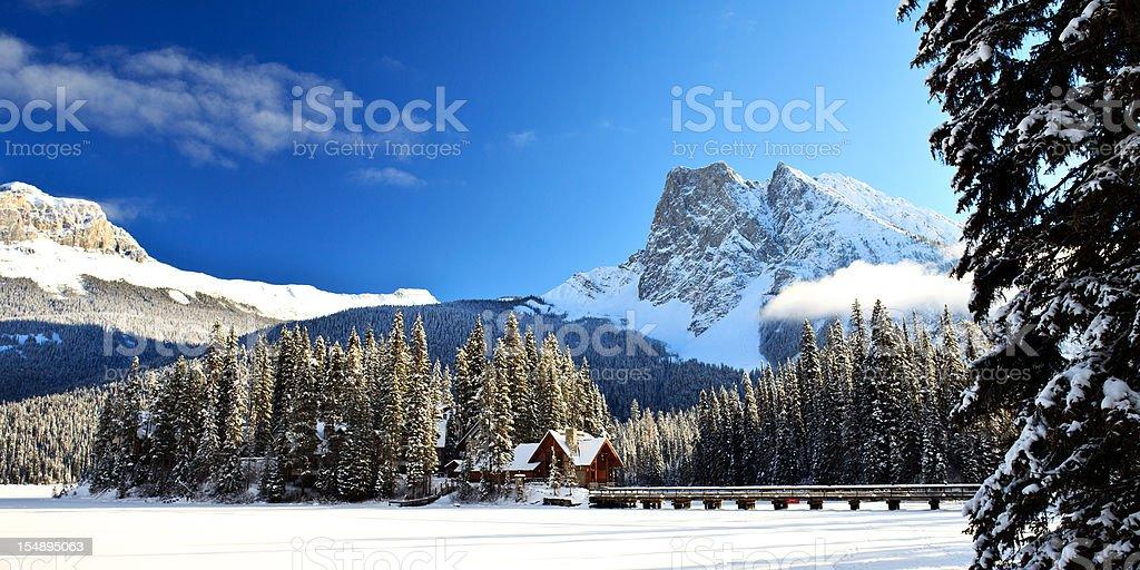 Emerald Lake Lodge Winter Island stock photo