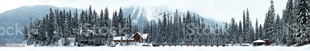 Emerald Lake Winter Morning Panorama stock photo