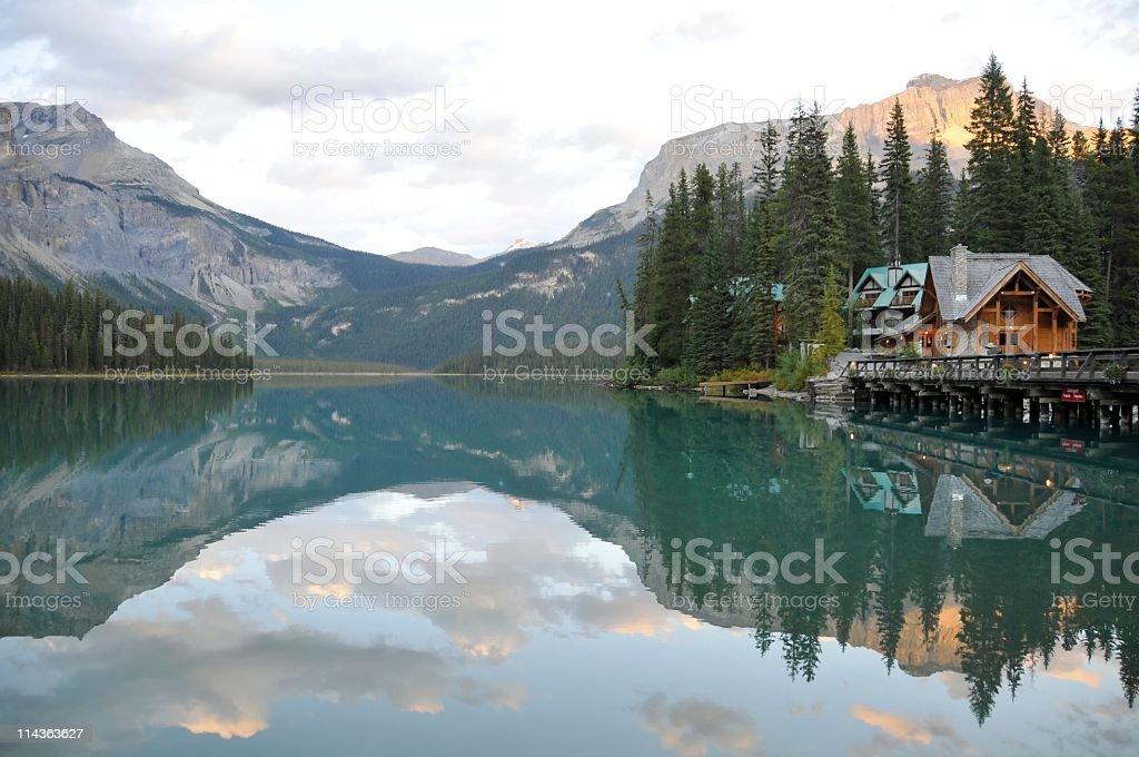 Emerald Lake with lodge , Yoho National Park,British Columbia,Canada stock photo