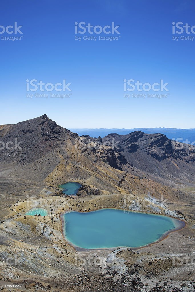 Emerald Lakes from the Tongariro Crossing stock photo