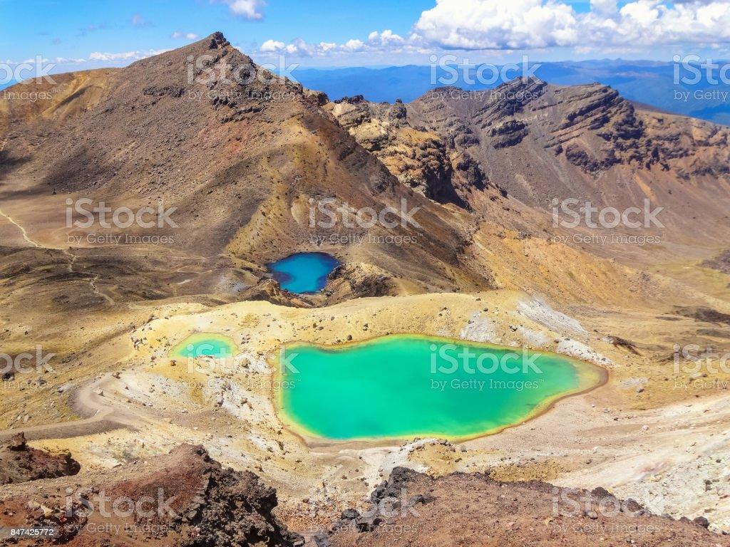 Emerald Lakes in Tongariro National Park New Zealand stock photo