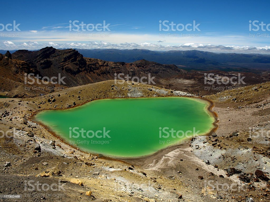 Emerald lakes on the Tongariro Crossing, New Zealand royalty-free stock photo