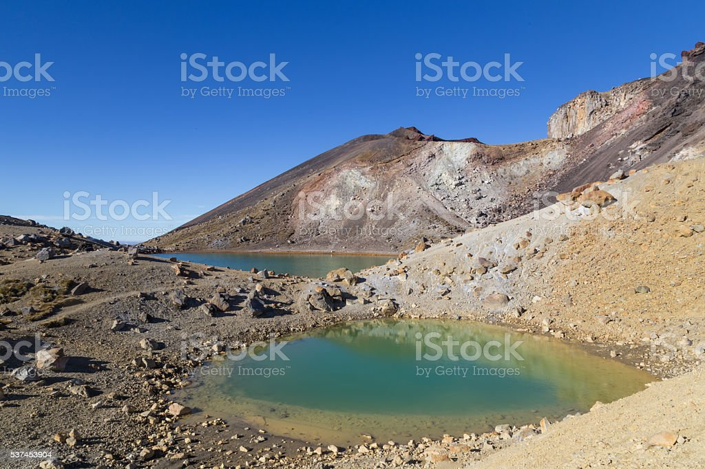Emerald Lakes, Tongariro National Park, New Zealand stock photo