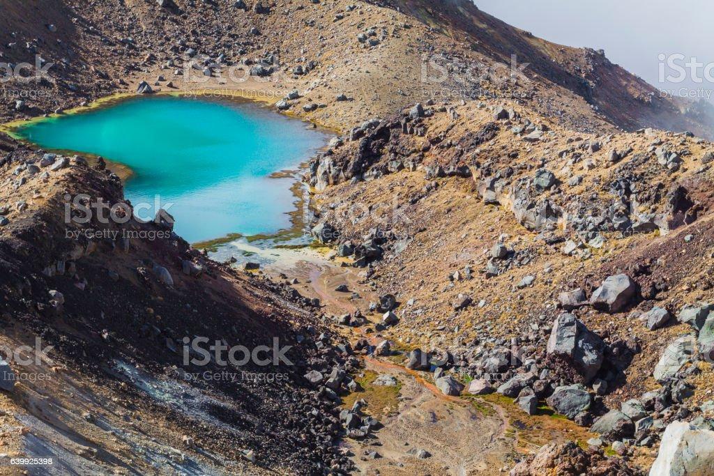 Emerald Lakes Tongariro National Park, New Zealand stock photo