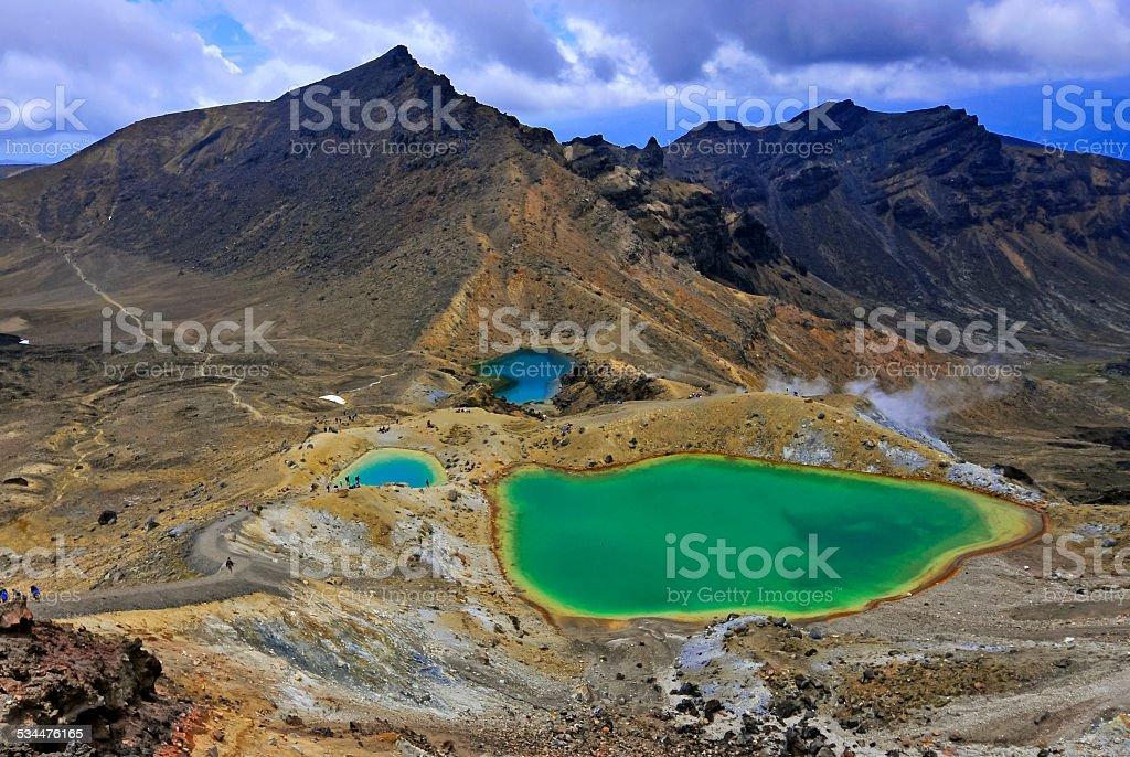 Emerald Lakes, Tongariro National Park, North Island, New Zealand stock photo
