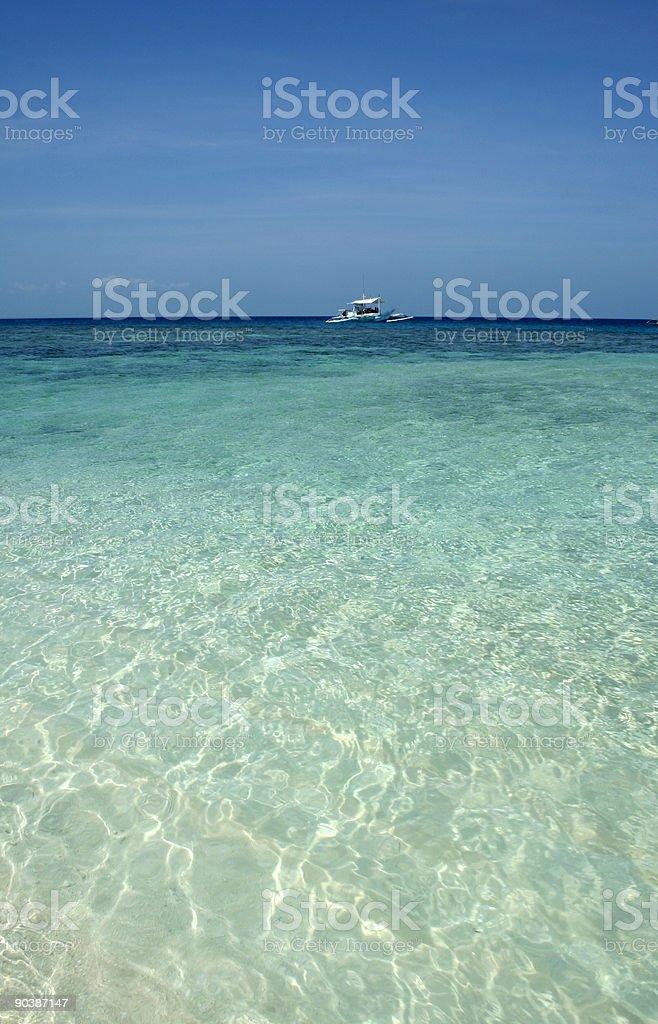 Emerald ocean dive boat sulu sea royalty-free stock photo