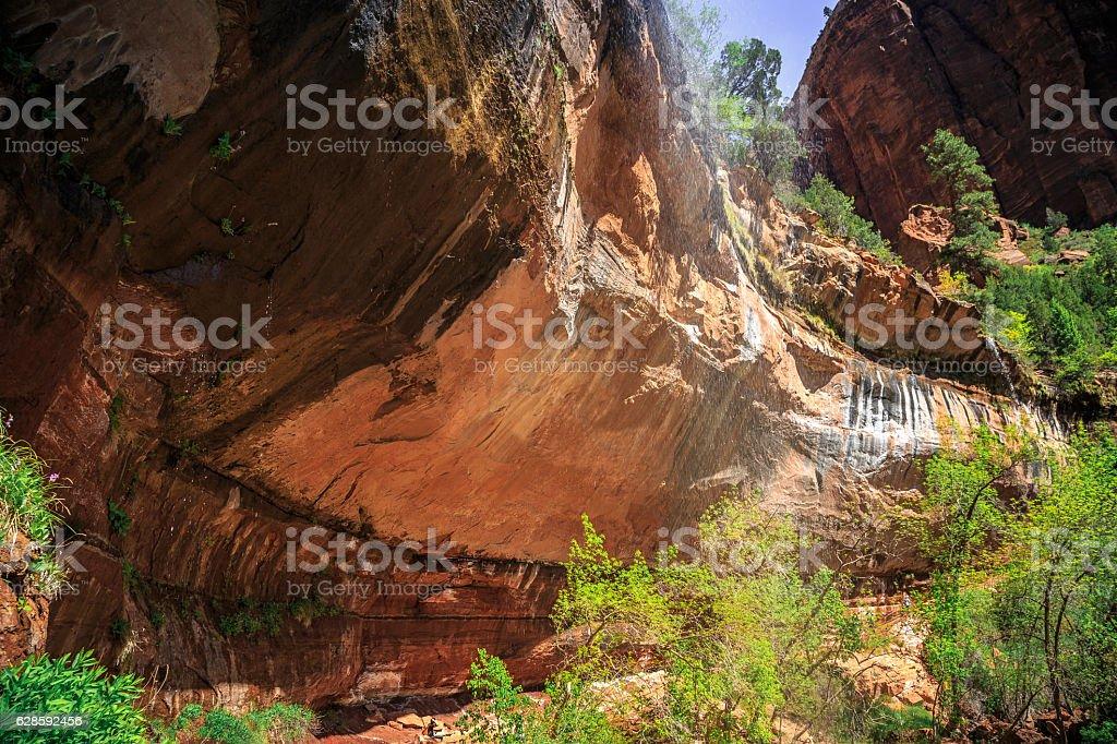 Emerald Pool Waterfall, Zion National Park, Utah stock photo