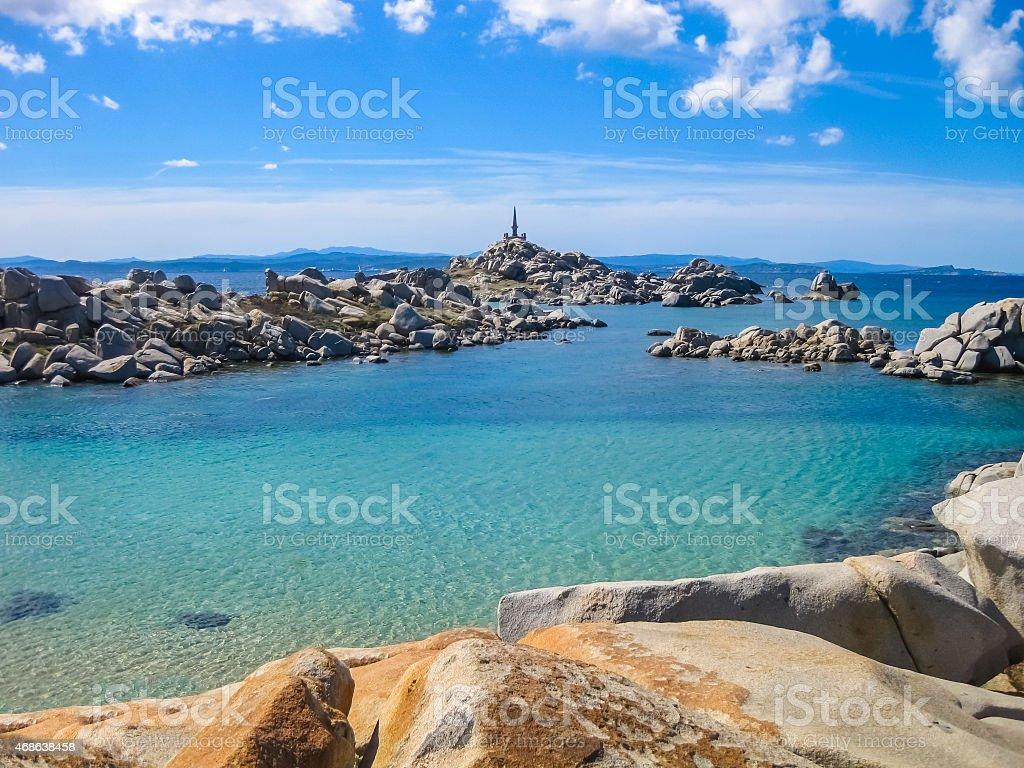 Emerald sea of Lavezzi Island, Corsica, France stock photo