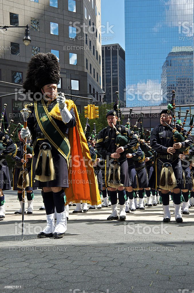 NYPD Emerald Society Pipes and Drums in 9-11 Memorial Ceremony stock photo