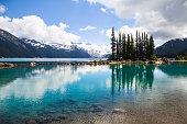 Emerald waters of Garibaldi Lake reflect bottle-green tree silhouettes
