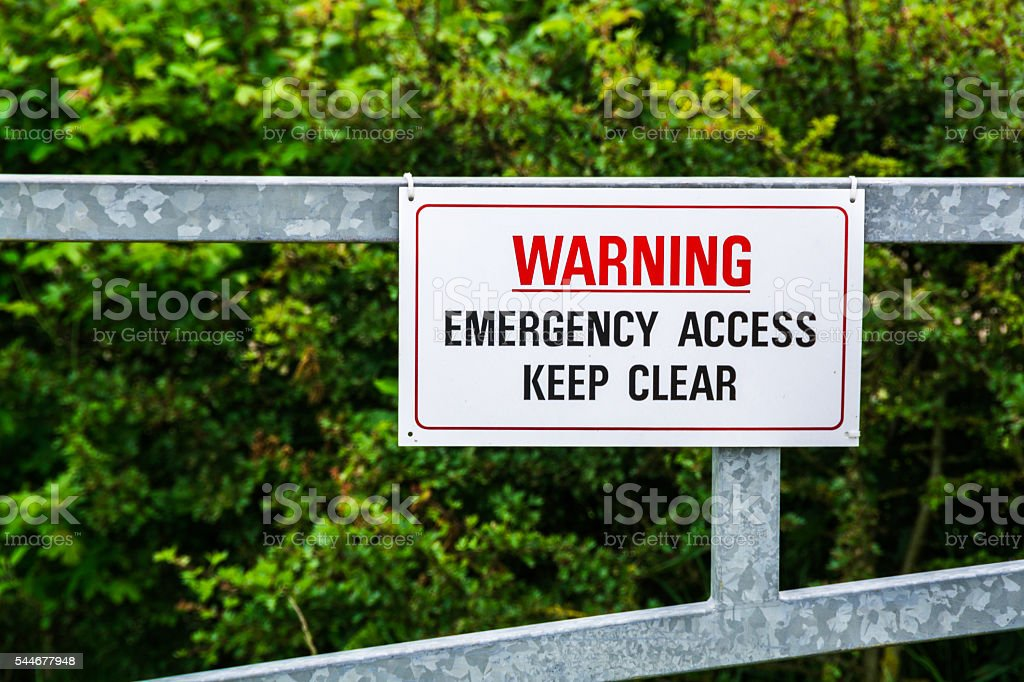 Emergency access keep clear warning sign in UK countryside stock photo