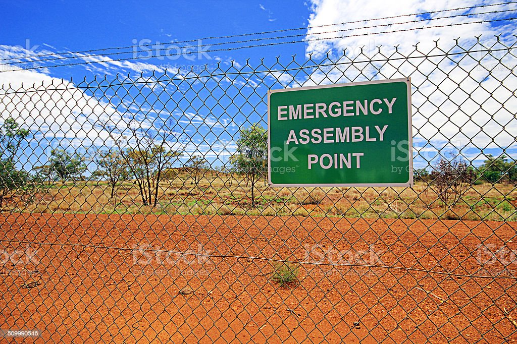 Emergency Assembly Point stock photo