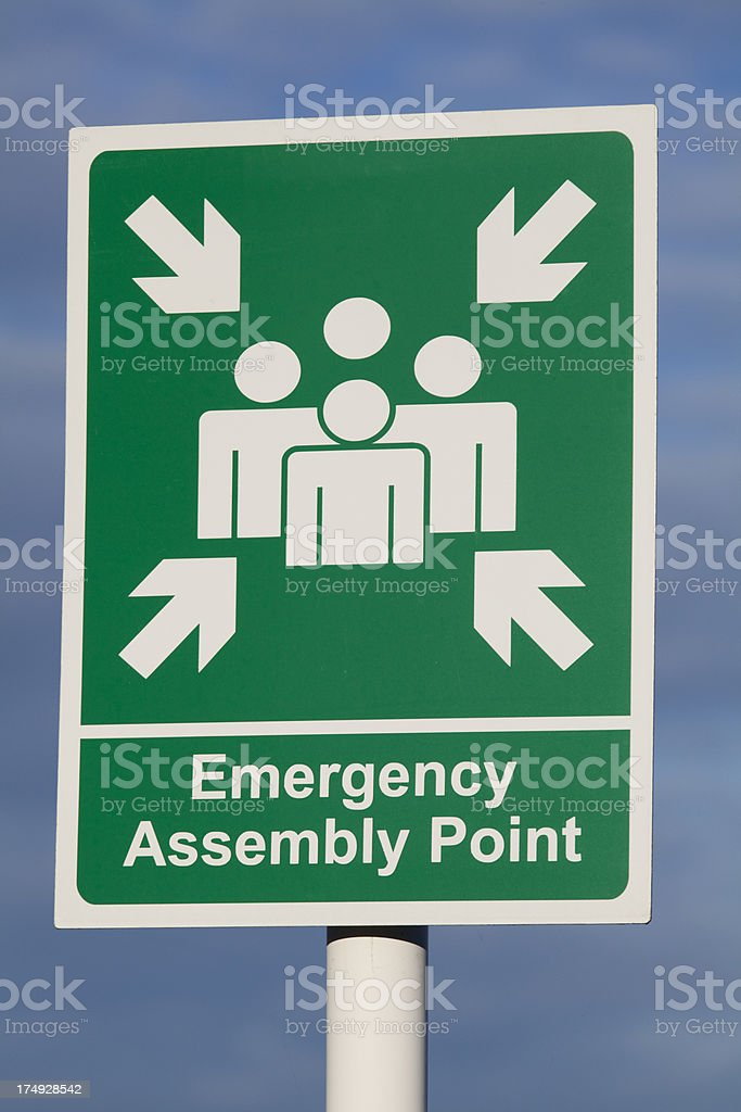Emergency Assembly Point Sign royalty-free stock photo