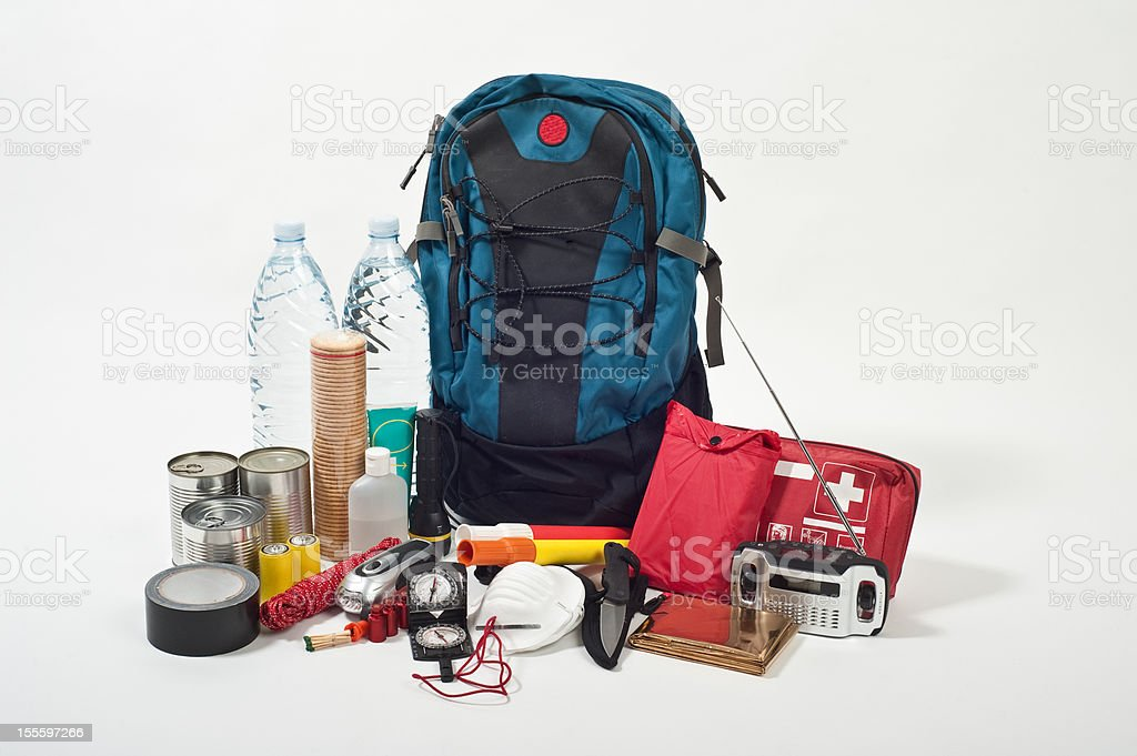 emergency backpack stock photo