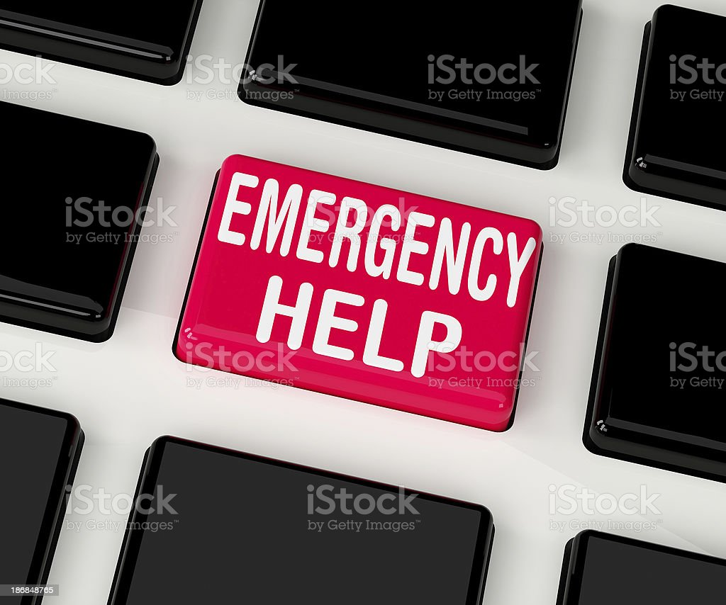 emergency button on colored keyboard telephone stock photo