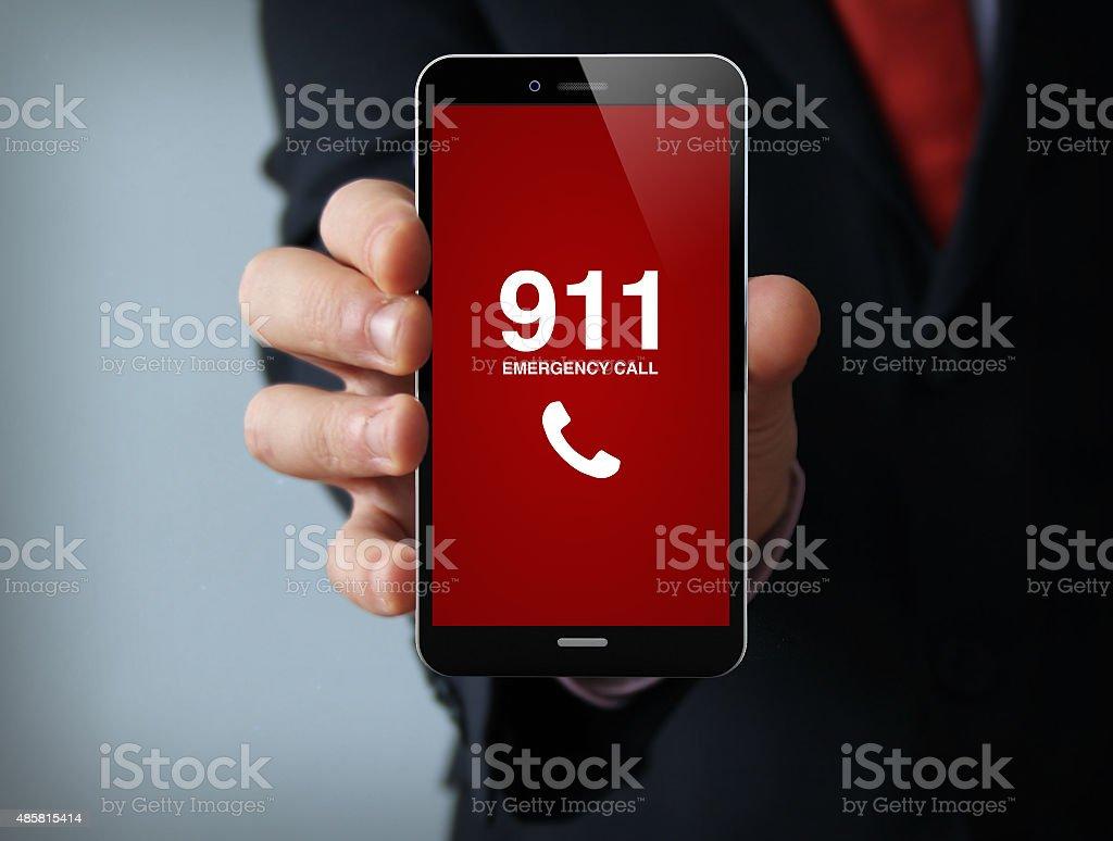 emergency call businessman smartphone stock photo
