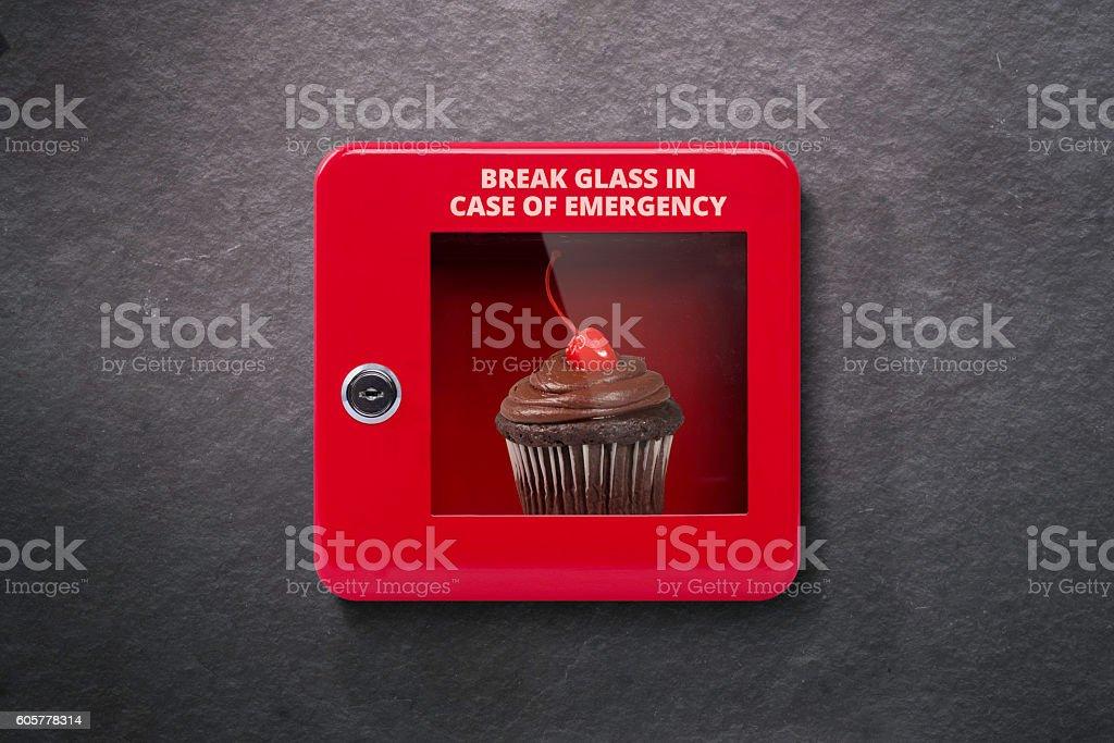 Emergency case with break away glass stock photo