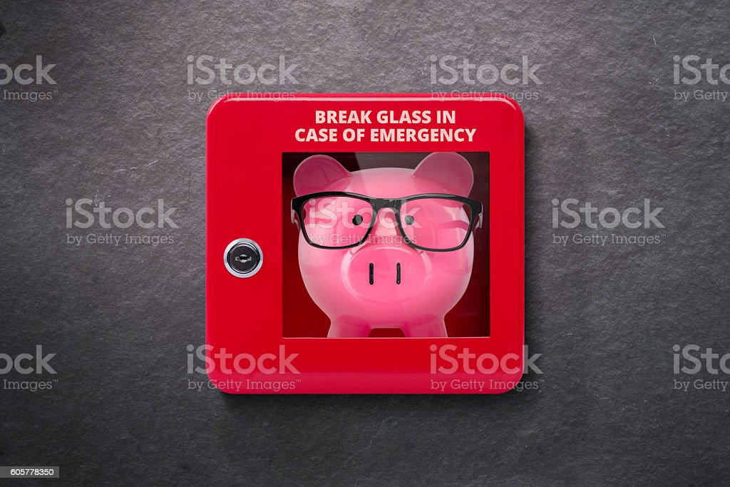 Emergency case with break away glass stock photo