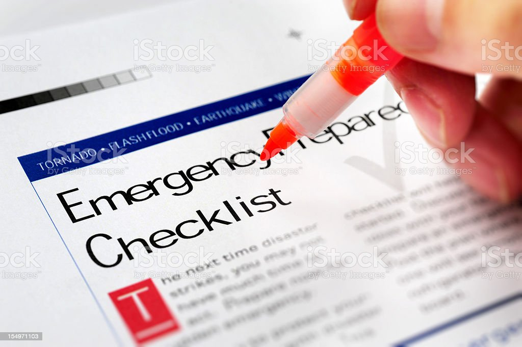 Emergency Checklist royalty-free stock photo
