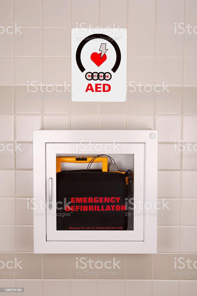 Emergency Defibrillator in a Wall Case stock photo