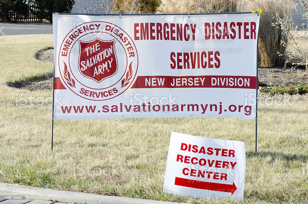 Emergency Disaster Services Center Signs stock photo