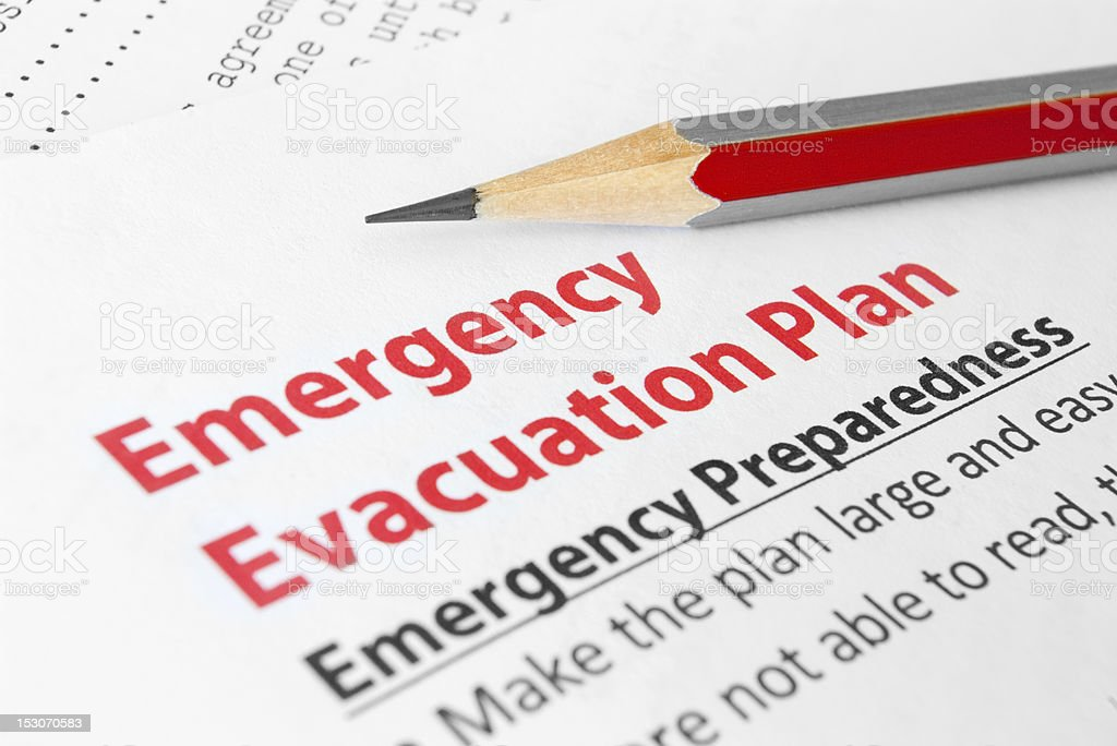 Emergency evacuation plan stock photo