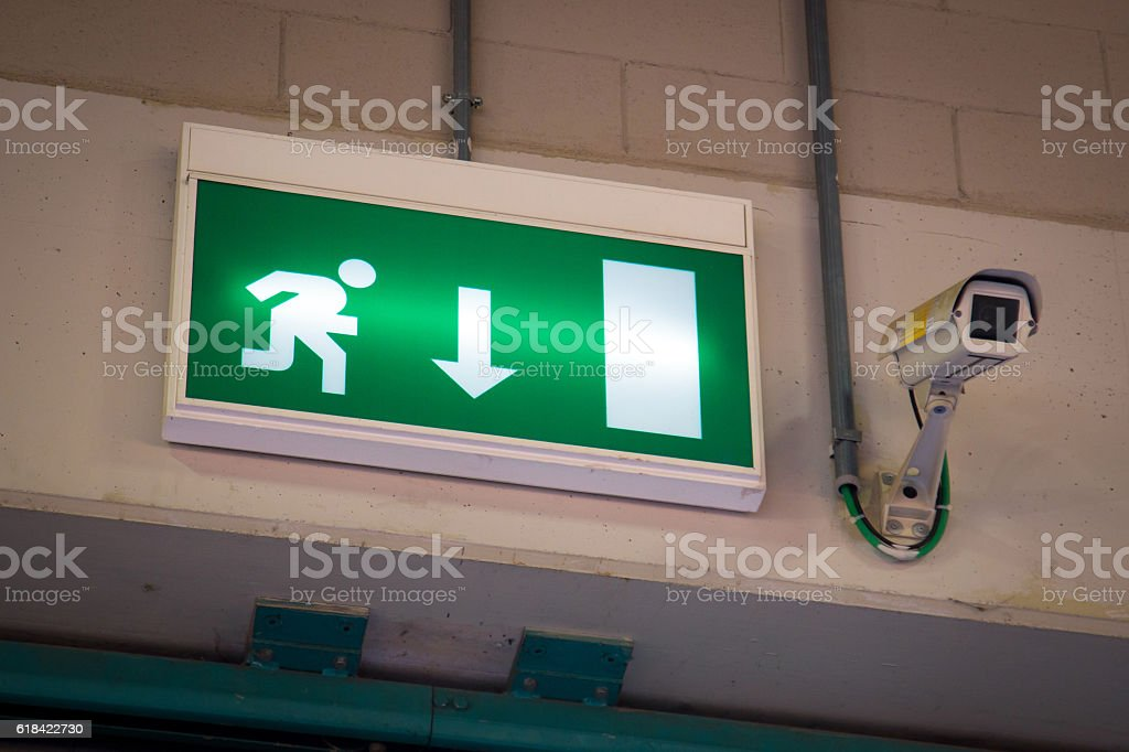 Emergency exit and Security Camera stock photo